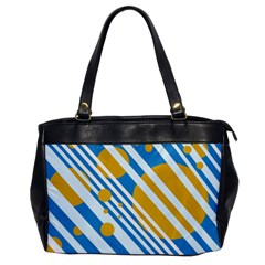 Blue, Yellow And White Lines And Circles Office Handbags by Valentinaart