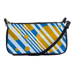Blue, Yellow And White Lines And Circles Shoulder Clutch Bags by Valentinaart