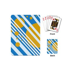 Blue, Yellow And White Lines And Circles Playing Cards (mini)  by Valentinaart