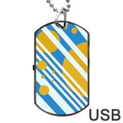 Blue, Yellow And White Lines And Circles Dog Tag Usb Flash (one Side) by Valentinaart
