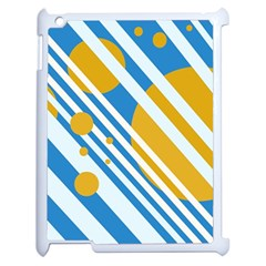 Blue, Yellow And White Lines And Circles Apple Ipad 2 Case (white) by Valentinaart