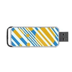 Blue, Yellow And White Lines And Circles Portable Usb Flash (two Sides) by Valentinaart
