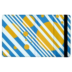 Blue, Yellow And White Lines And Circles Apple Ipad 2 Flip Case by Valentinaart