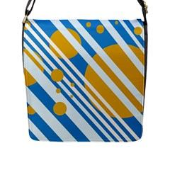 Blue, Yellow And White Lines And Circles Flap Messenger Bag (l)  by Valentinaart