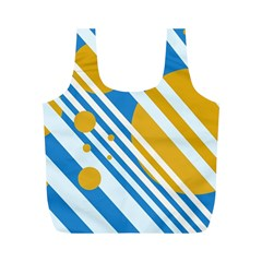 Blue, Yellow And White Lines And Circles Full Print Recycle Bags (m)  by Valentinaart