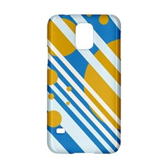 Blue, Yellow And White Lines And Circles Samsung Galaxy S5 Hardshell Case  by Valentinaart