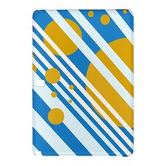 Blue, Yellow And White Lines And Circles Samsung Galaxy Tab Pro 10 1 Hardshell Case by Valentinaart