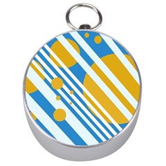 Blue, Yellow And White Lines And Circles Silver Compasses by Valentinaart