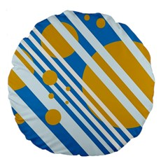Blue, Yellow And White Lines And Circles Large 18  Premium Flano Round Cushions by Valentinaart
