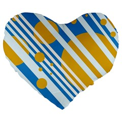 Blue, Yellow And White Lines And Circles Large 19  Premium Flano Heart Shape Cushions by Valentinaart