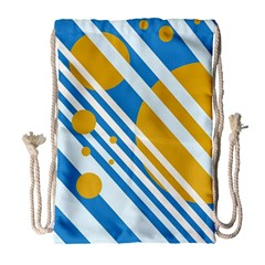 Blue, Yellow And White Lines And Circles Drawstring Bag (large) by Valentinaart