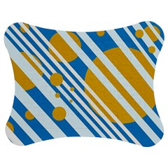 Blue, Yellow And White Lines And Circles Jigsaw Puzzle Photo Stand (bow) by Valentinaart