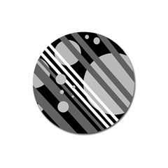 Gray Lines And Circles Magnet 3  (round) by Valentinaart