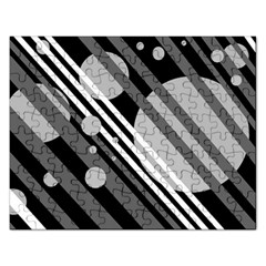 Gray Lines And Circles Rectangular Jigsaw Puzzl by Valentinaart