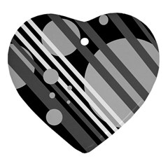 Gray Lines And Circles Heart Ornament (2 Sides) by Valentinaart