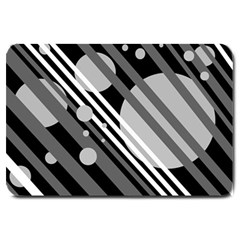 Gray Lines And Circles Large Doormat  by Valentinaart