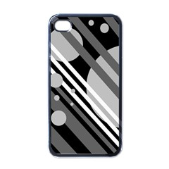 Gray Lines And Circles Apple Iphone 4 Case (black) by Valentinaart