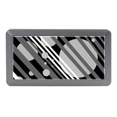 Gray Lines And Circles Memory Card Reader (mini) by Valentinaart