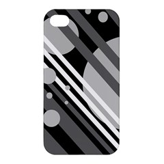 Gray Lines And Circles Apple Iphone 4/4s Hardshell Case by Valentinaart