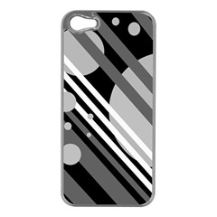 Gray Lines And Circles Apple Iphone 5 Case (silver) by Valentinaart