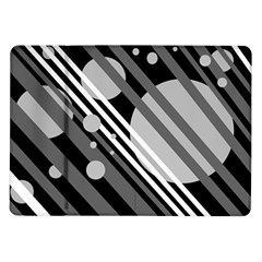 Gray Lines And Circles Samsung Galaxy Tab 10 1  P7500 Flip Case by Valentinaart
