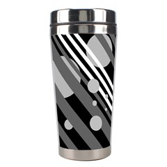 Gray Lines And Circles Stainless Steel Travel Tumblers by Valentinaart