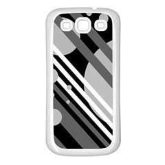 Gray Lines And Circles Samsung Galaxy S3 Back Case (white) by Valentinaart