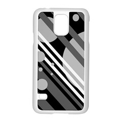 Gray Lines And Circles Samsung Galaxy S5 Case (white) by Valentinaart