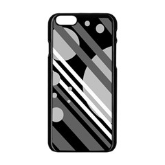 Gray Lines And Circles Apple Iphone 6/6s Black Enamel Case by Valentinaart