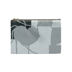 Gray Hart Cosmetic Bag (medium)  by Valentinaart