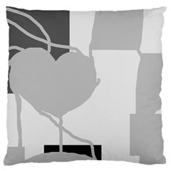 Gray Hart Large Cushion Case (one Side) by Valentinaart