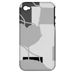 Gray Hart Apple Iphone 4/4s Hardshell Case (pc+silicone) by Valentinaart