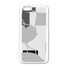 Gray Hart Apple Iphone 6/6s White Enamel Case by Valentinaart