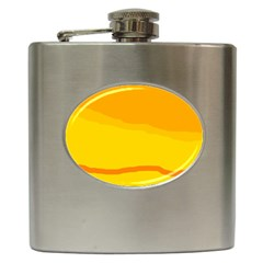 Yellow Decorative Design Hip Flask (6 Oz) by Valentinaart