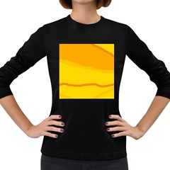 Yellow Decorative Design Women s Long Sleeve Dark T Shirts by Valentinaart