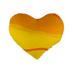 Yellow Decorative Design Standard 16  Premium Flano Heart Shape Cushions by Valentinaart