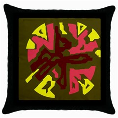 Abstract Design Throw Pillow Case (black) by Valentinaart