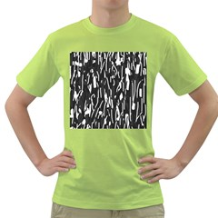 Black And White Elegant Pattern Green T Shirt by Valentinaart