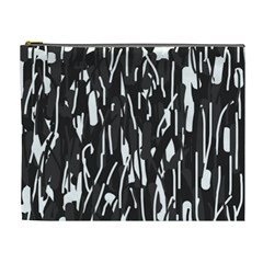Black And White Elegant Pattern Cosmetic Bag (xl) by Valentinaart