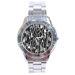 Black And White Elegant Pattern Stainless Steel Analogue Watch by Valentinaart