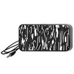 Black And White Elegant Pattern Portable Speaker (black)  by Valentinaart