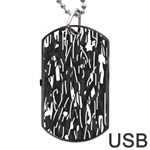 Black and white elegant pattern Dog Tag USB Flash (Two Sides)  Back