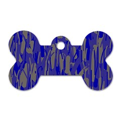 Plue Decorative Pattern  Dog Tag Bone (one Side) by Valentinaart