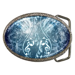 Music, Decorative Clef With Floral Elements In Blue Colors Belt Buckles by FantasyWorld7