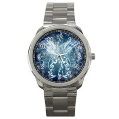Music, Decorative Clef With Floral Elements In Blue Colors Sport Metal Watch by FantasyWorld7
