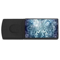 Music, Decorative Clef With Floral Elements In Blue Colors Usb Flash Drive Rectangular (4 Gb)  by FantasyWorld7