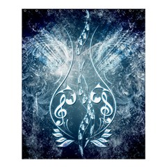 Music, Decorative Clef With Floral Elements In Blue Colors Shower Curtain 60  X 72  (medium)  by FantasyWorld7
