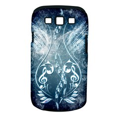 Music, Decorative Clef With Floral Elements In Blue Colors Samsung Galaxy S Iii Classic Hardshell Case (pc+silicone) by FantasyWorld7