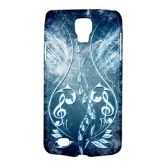Music, Decorative Clef With Floral Elements In Blue Colors Galaxy S4 Active by FantasyWorld7