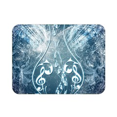 Music, Decorative Clef With Floral Elements In Blue Colors Double Sided Flano Blanket (mini)  by FantasyWorld7
